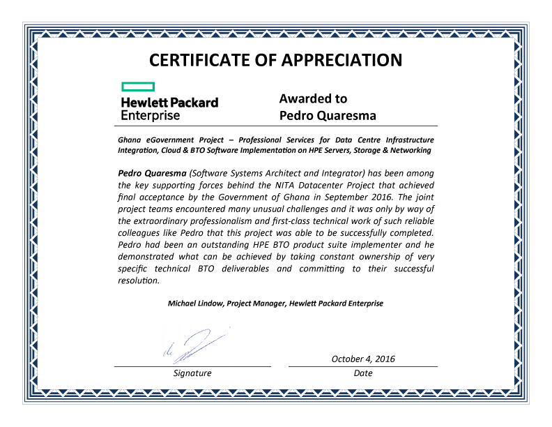 Certificate of Appreciation - Pedro Quaresma